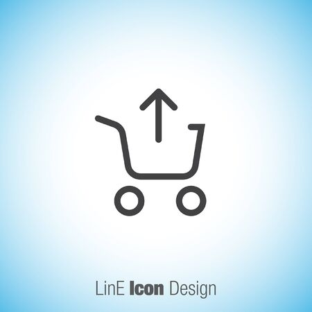 shopping chart: Remove from shopping chart line vector icon. Online shopping symbol.