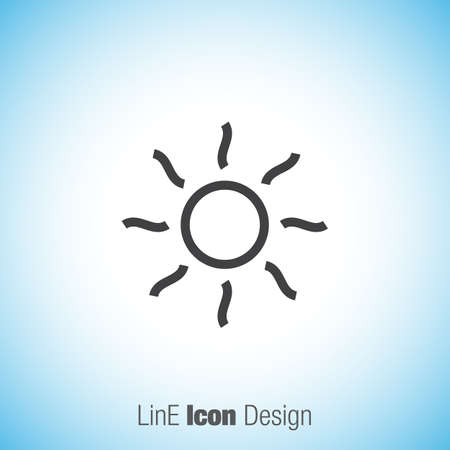 hot weather: Shine sign line vector icon. Sun vector icon. Sun rays icon. Summer sign. Hot weather symbol. Illustration