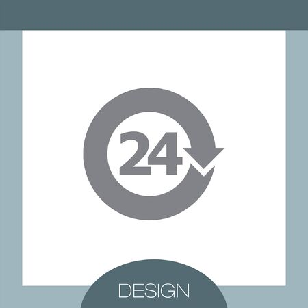 24: Open 24 Hours vector icon