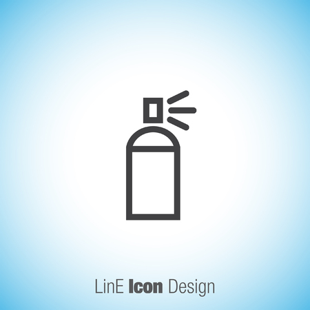 paint can: Spray can sign line vector icon. Deodorant symbol. Paint UI control sign.