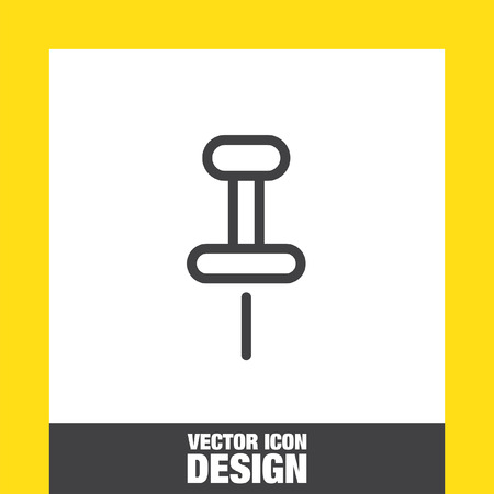 clamps: Pushpin sign line vector icon. Pin tool sign. Office stationery symbol.