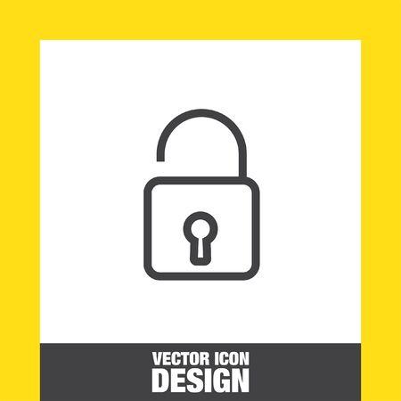 lock symbol: Padlock sign line vector icon. Open lock sign icon. Protection sign. Password symbol. Unlock symbol.