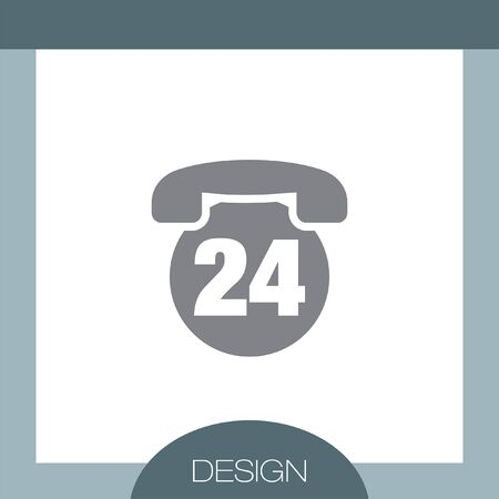 24h: Phone 24h vector icon