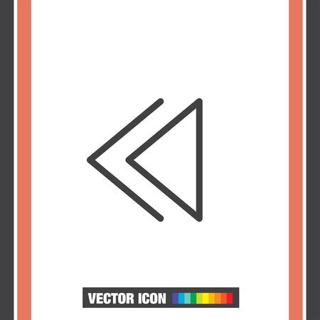 backward: Backward button sign line vector icon. UI control Backward button.