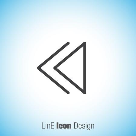 backward: Backward button sign line vector icon. UI control Backward buton.