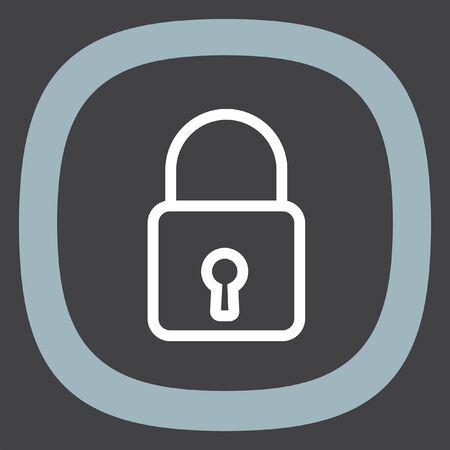 secret codes: Padlock sign line vector icon. Lock sign vector icon. Protection sign. Password symbol.