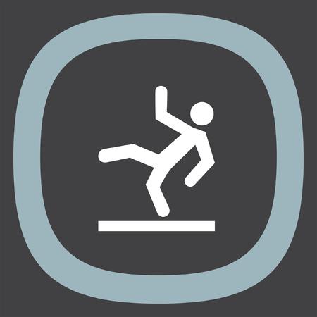 slips: Slippery wet floor vector icon. Warning sign. Attention dangerous symbol Illustration