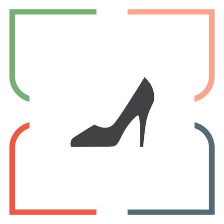footwear: Woman shoes vector icon. High heels sign. Female classy footwear