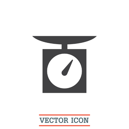 to weigh: Kitchen scales vector icon. Weight measuring device sign. Measurement instrument symbol