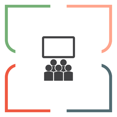 school meeting: Students in classroom vector icon. School and teacher sign. Seminar and conference symbol