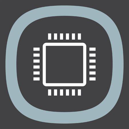 processor: Processor sign line vector icon. PC CPU symbol. Computer chip sign icon.