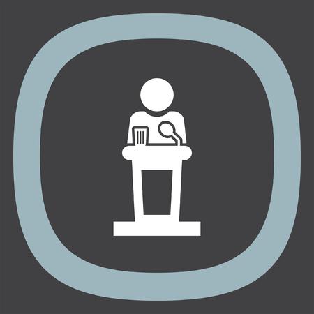 politician: Podium public speaking vector icon. Politician speaking sign. President conference symbol