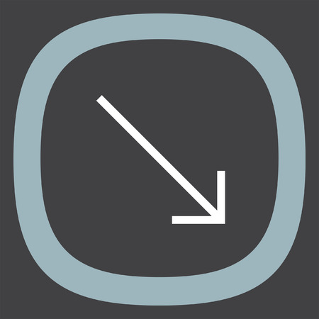 bottom line: Arrow bottom right sign line vector icon. Direction sign line icon. Illustration
