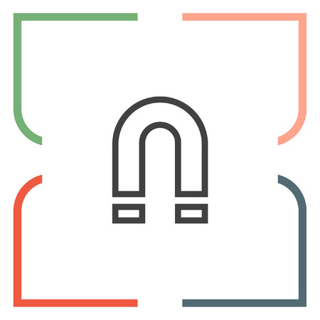 polarity: Magnet sign line vector icon. Magnetic power sign. Physics symbol.