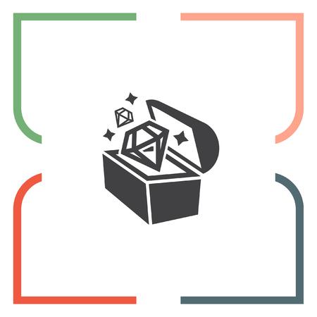 mimic: Treasure chest vector icon. Hiddine gold and diamonds sign. Old pirate trunk symbol