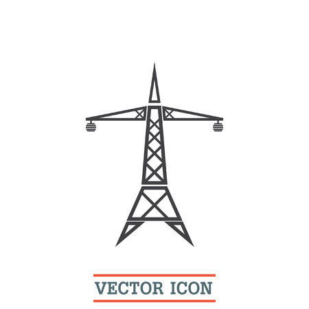 electric tower: Power line vector icon. Electric tower sign. High electricity transmission symbol