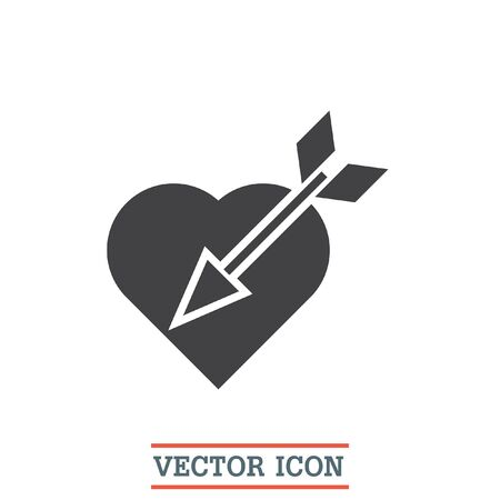 love icon: Heart with Arrow vector icon. Love sign. Cupid symbol