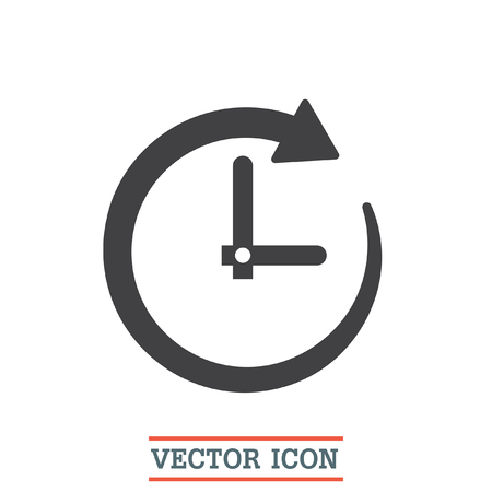 Clock with Arrow vector icon. Deadline time symbol. Business concept timer sign. Illustration