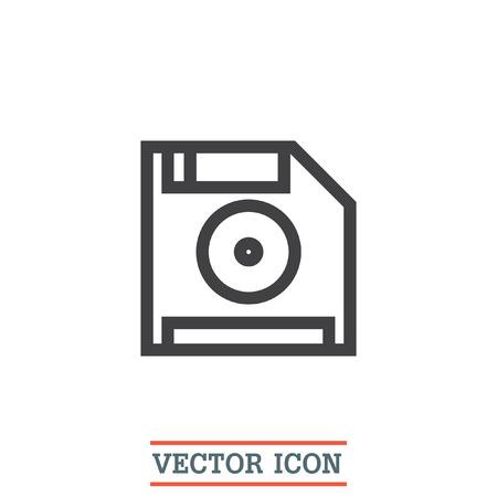 floppy drive: Save symbol line vector icon. Computer diskette vector icon. Floppy disk icon. Retro data storage sign.