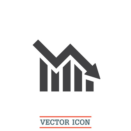 Chart with bars declining vector icon. Decrease sign icon. Finance graph symbol.