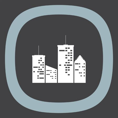 downtown: Town at night vector icon. Urban city sign. Downtown symbol Illustration