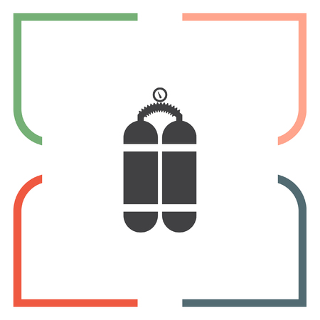 compressed air: Oxygen cylinder vector icon. Oxygen container sing. Diving equipment symbol Illustration