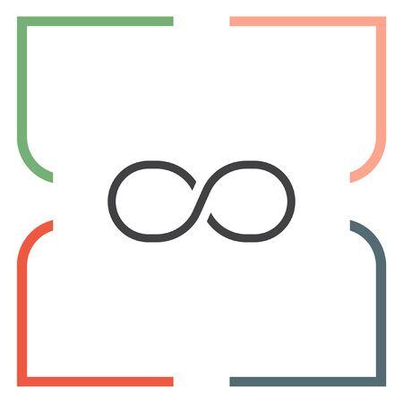 signo de infinito: símbolo de infinito icono de la línea del vector. icono de la muestra sin fin. Vectores