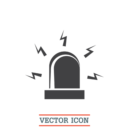 burglar alarm: Alarm vector icon. Siren alarm symbol. Alert flashing light sign. Illustration