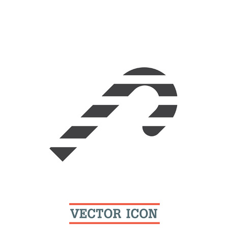 lolly pop: Candy cane vector icon. Sugar lolly pop symbol. Sweet lolly pop sign.