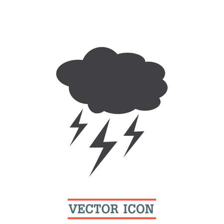 storm cloud: Cloud with Lightning Weather vector icon. Storm sign. Dangerous symbol. Illustration