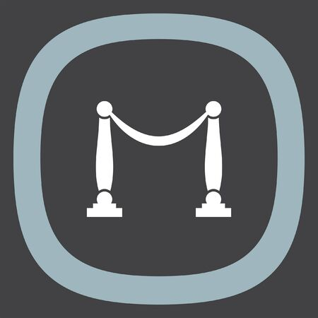 barricade: Queue barricade vector icon. Concert entrance sign. Museum rope and pole barrier symbol
