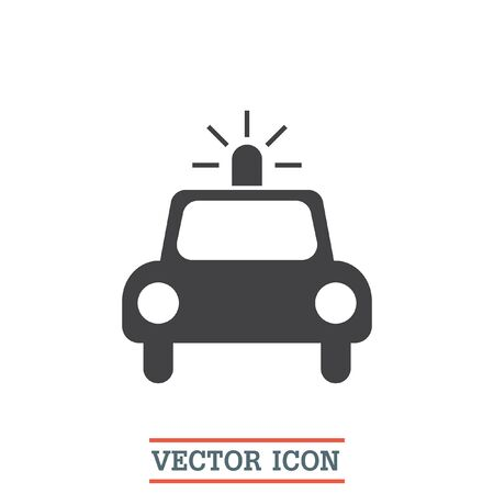 arrested: Police car vector icon. Cop automobile sign. Security vehicle symbol