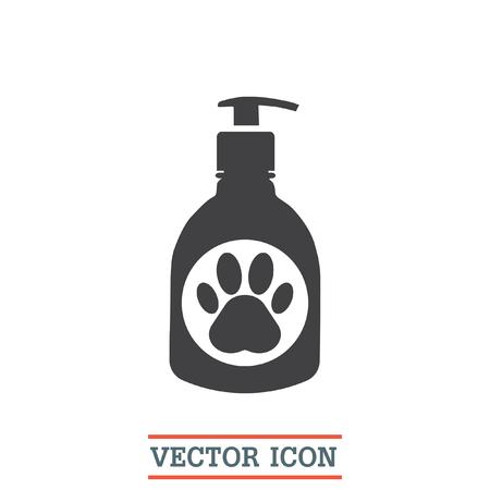 Pet shampoo vector icon. Animal cleaning soap sign. Dog and cat bathing and showering wash symbol Ilustração Vetorial