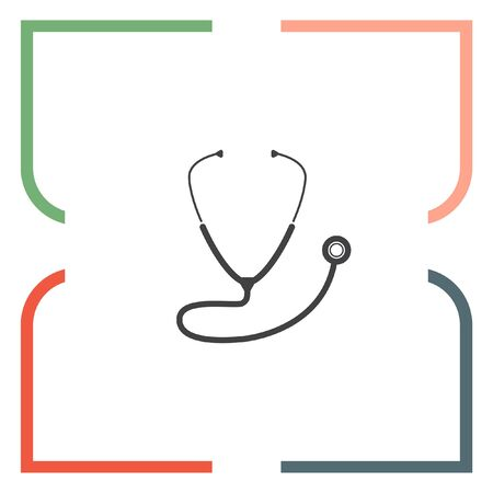 medical equipment: Stethoscope vector icon. Medical equipment sign. Hospital care symbol Illustration