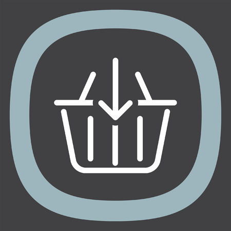 add to basket: Add to shopping basket line vector icon. On line shop sign line icon. Web store purchase symbol. Illustration