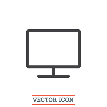 led display: Monitor vector icon. PC screen icon. PC monitor symbol. Led TV sign. Wide screen display symbol.