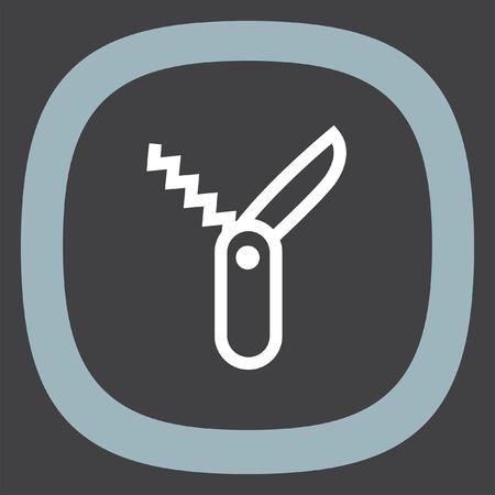 temperino: Svizzero coltello segno icona linea vettoriale. Temperino icona segno vettore. simbolo Jackknife. Multi icona coltello strumento. Multi segno strumento di funzione. Escursionismo simbolo attrezzature. Vettoriali
