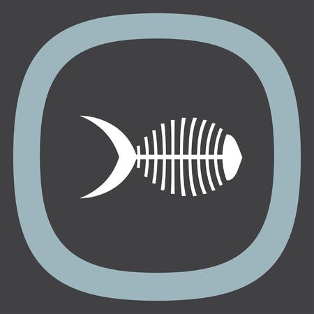 leftovers: Fish bone vector icon. Herringbone sign. Leftovers symbol