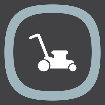 mowing lawn: Mower vector icon. Lawnmower sign. Landscaping symbol