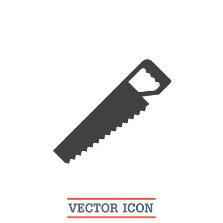 serrucho: Sierra de mano del icono del vector. signo de la sierra para metales. s�mbolo de corte de madera Vectores