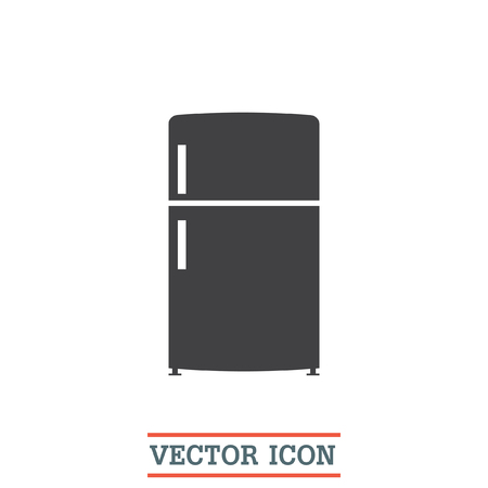 refrigeration: Refrigerator vector icon. Fridge sign. Kitchen refrigeration device symbol