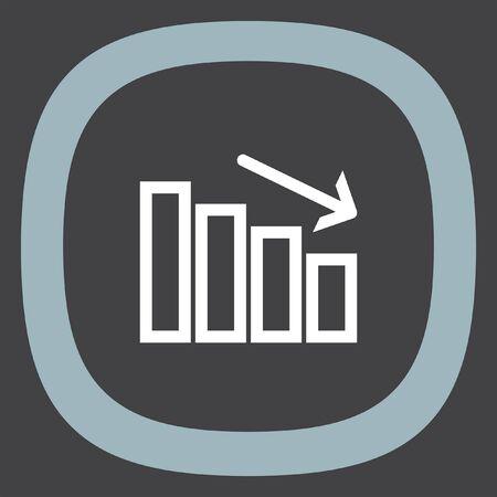 decrease: Chart with bars declining line vector icon. Decrease sign line icon. Finance graph line icon. Illustration