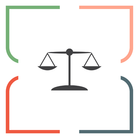 to weigh: Scales sign vector icon. Justice symbol icon. Balance sign icon.