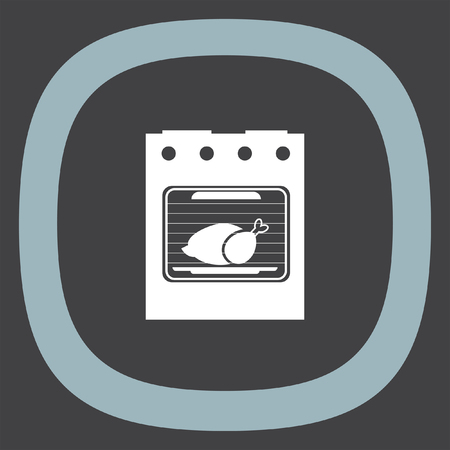 microwave ovens: Oven vector icon. Kitchen stove sign. Roasting turkey symbol Illustration