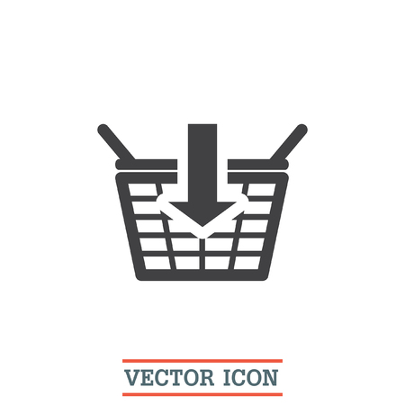 super market: Add to shopping basket vector icon. On line shop sign icon. Web store purchase symbol.