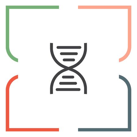 genetic: DNA chain sign line vector icon. Genetic structure sign. Biology science symbol.
