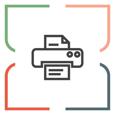 printout: Printer sign line vector icon. Print document technology sign. Office printing device symbol. Illustration
