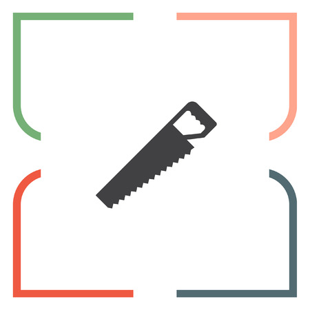 serrucho: Sierra de mano del icono del vector. signo de la sierra para metales. símbolo de corte de madera Vectores