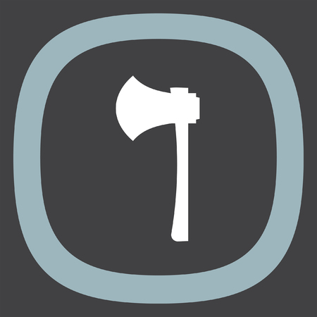 lumber: Work axe vector icon. Lumber hatchet sign. Firefighter symbol