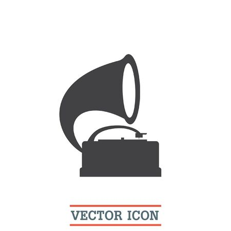 record player: Gramophone vector icon. Record player sign. Vintage music symbol